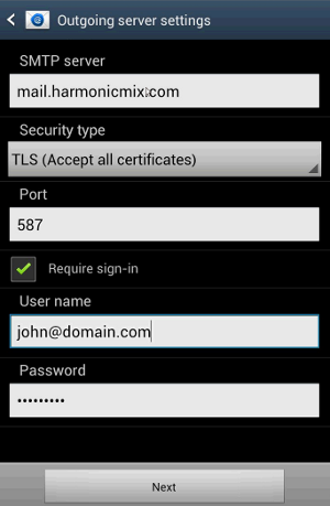 Android - Outgoing Mail Server Settings