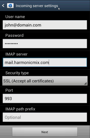 Android - Incoming mail server settings
